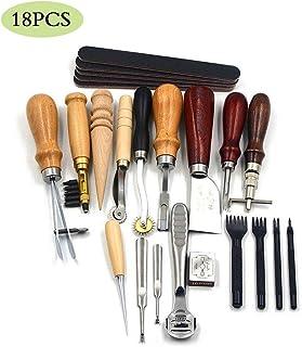 JFZS 18PCS Kit De Gravure sur Cuir Outils Et Fournitures en Cuir Fournitures De Kits De Travail en Cuir pour Couture Poinç...