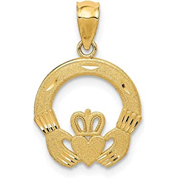 10k Yellow Gold Irish Claddagh Celtic Knot Pendant Charm Necklace Fine Jewelry Gifts For Women For Her