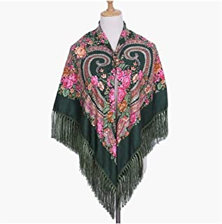 Ethnic Style Fringed Scarf Twill Cotton Ladies Shawl Print Square Shawl Autumn Winter,Perfect Accent to Any Outfit (Color : 05, Size : 135 * 135CM)