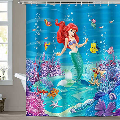 Bonhause Duschvorhang 180 x 180 cm Kleine Meerjungfrau unter dem Meer Koralle Du...