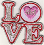 Parche con plancha applikation Iron on patches Love Girl Corazón Plata Rojo