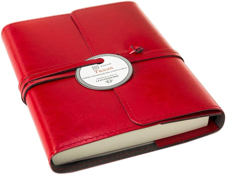 Tuscan Recyceltes Recyceltes Recyceltes Leder Nachfüllbares Notizbuch Rot, A6 Blanko Seiten - Handgefertigt in Italien von LEATHERKIND B01IBOAL3W | Viele Stile  | Elegante und robuste Verpackung  | Deutschland Online Shop  077b21