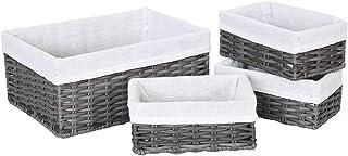 HOSROOME Handmade Wicker Storage Baskets Set Woven Decorative Organizing Nesting Baskets for Bedroom Bathroom(Set of 4,Grey)