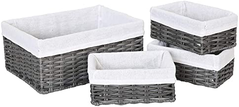 HOSROOME Handmade Wicker Storage Baskets Set Woven Decorative Organizing Nesting Baskets for Bedroom Bathroom(Set of 4,Grey)