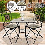 Jago Mosaic Garden Set - Square Table (Ø/H: 60x70cm) + Two Foldable Chairs (46cm Seat Height), Beige Black White - Different Designs - Patio, Balcony, Terrace Furniture
