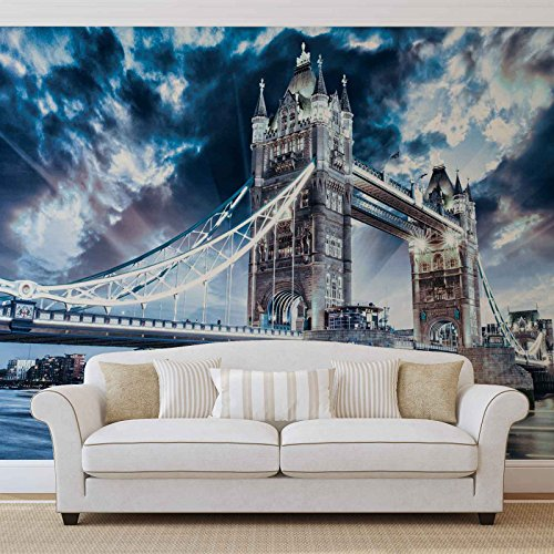 Stadt London Tower Bridge - Forwall - Fototapete - Tapete - Fotomural - Mural Wandbild - (847WM) - XL - 254cm x 184cm - Papier (KEIN VLIES) - 2 Pieces