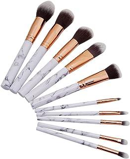 LnLyin - Juego de 10 brochas de maquillaje para polvos sueltos, contorno, sombra, iluminador, sombra de ojos y base