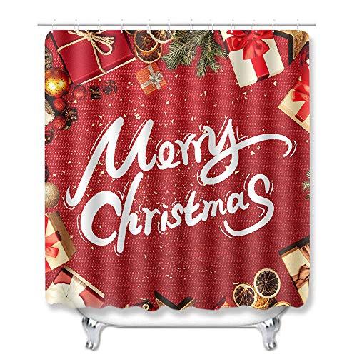 Juego de Cortinas de Ducha 150 × 180 cm Cortina de Ducha Antibacterial Impermeable Decoracion de Baño con 12 Ganchos,Caja de Regalo roja de Navidad