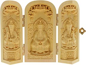 Prettyia Oriental Boxwood Handwork Carved Buddha Statue Collection characteristi - Style-8, as described
