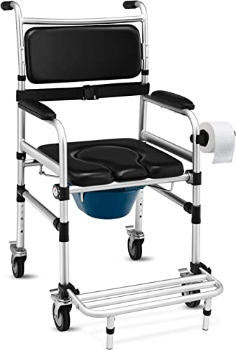 wholesale Giantex 3 in 1 Lightweight Shower online Commode Wheelchair, Transport Bedside Commode with Wheels, Wheelchair Height and Pedal Adjustable, Shower Wheelchair for online sale Elder, Disabled People (Black) sale