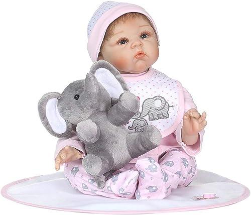 sunhoyu Reborn Baby Puppe, 22 Zoll Silikon Neugeborenen Lebensechte Baby Puppe Decke L chen Rosa Cartoon Kleidung Hut Mini Elefant Frühen Kindheit Kinder Spielzeug