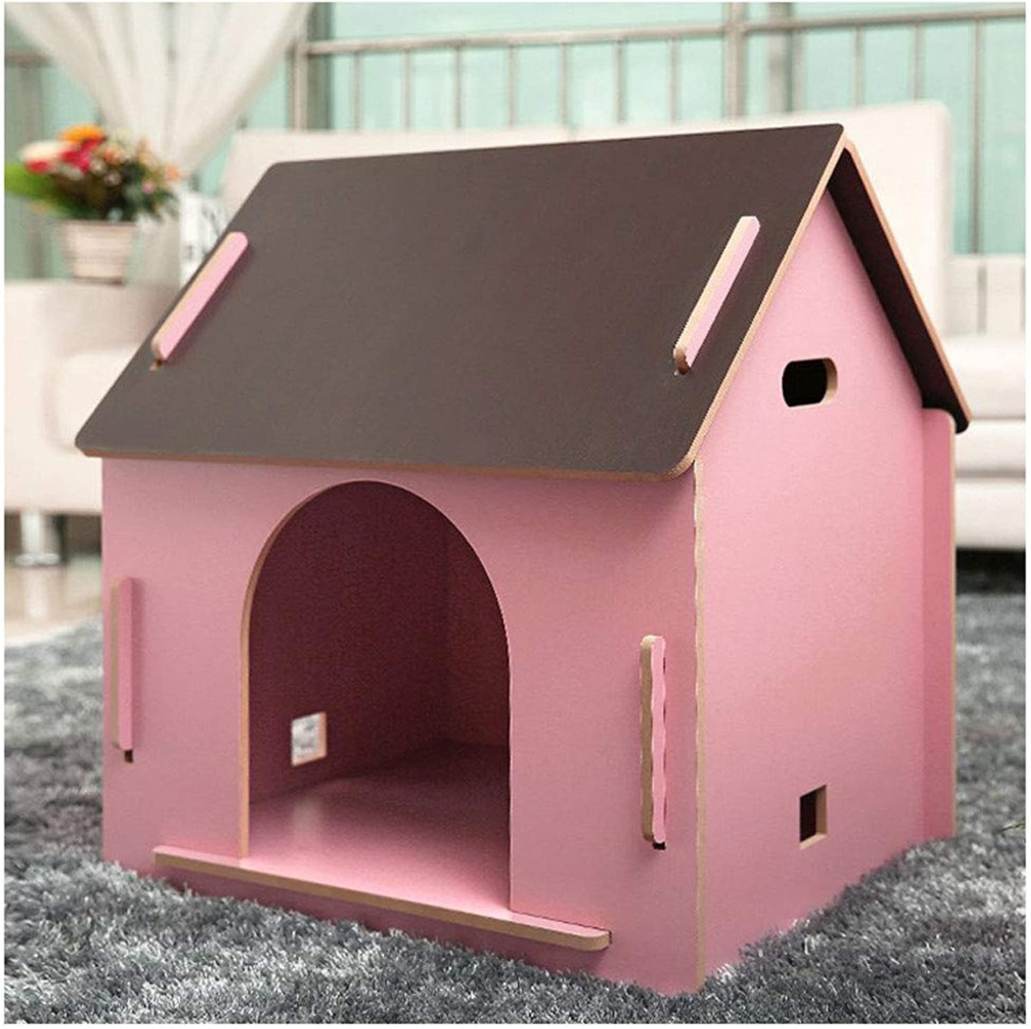 ATR Removable dog kennel made of wood, for pets has a home, color Pink (MultiStyle and MultiSize Optional) (color  No Door, Size  Small)