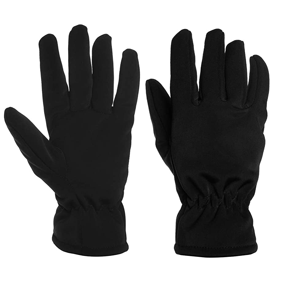 DG Hill Black Gloves Fleece Lined Faux Fur Winter Gloves Soft Thermal Wind Snow Cold Resistant For Men Women