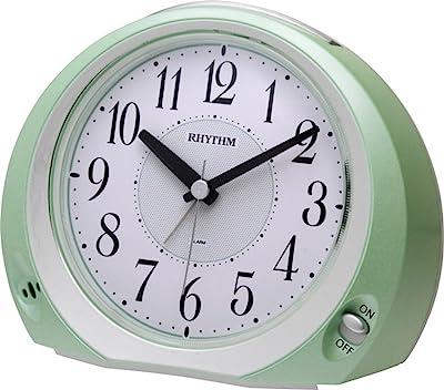 リズム時計 目覚まし時計 アナログ フェイス28 連続秒針 電池寿命約2年 緑 RHYTHM 8REA28SR05