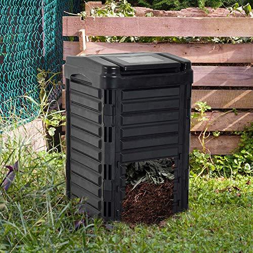 ZHANGYY Compostador agrícola, Cubos de compostaje de desechos de Patio Grande, compostaje rápido para Exteriores de 330 l, Caja de compostaje para Exteriores con aireación, triturador de b
