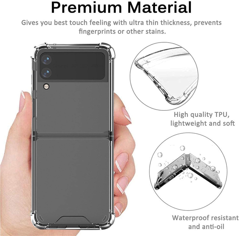 B/A Phone Case for Galaxy Z Flip 3 5G - Foldable Premium Thin Transparent Hard PC Slim Durable Protective Phone Case Cover for Samsung Galaxy Z Flip 3 5G 2021
