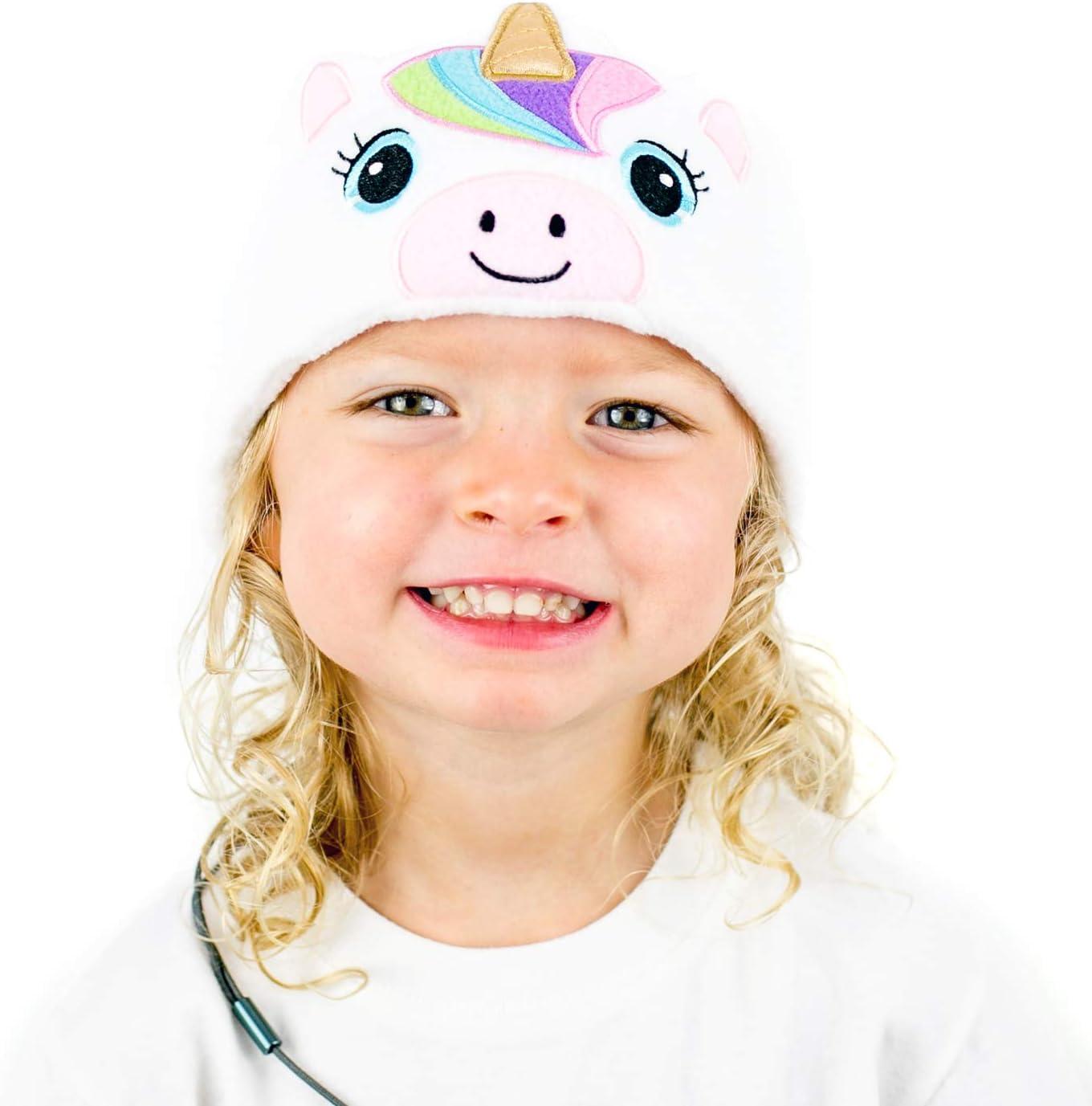 CozyPhones Over The Ear Headband Headphones - Kids Headphones Volume Limited with Thin Speakers & Super Soft Stretchy Headband - White Unicorn
