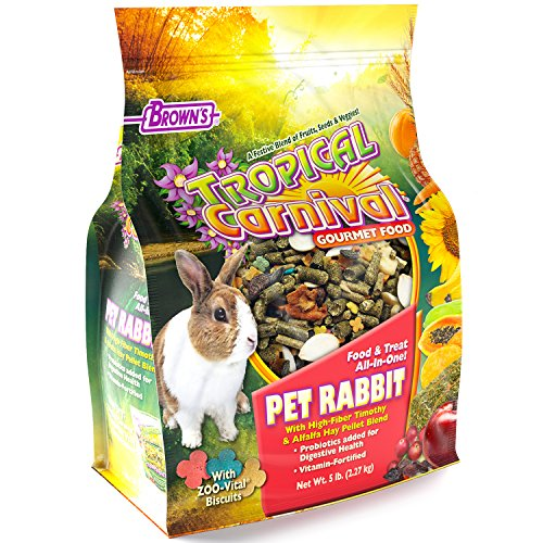 F.M. Brown's Tropical Carnival Gourmet Pet Rabbit Food with High-Fiber Timothy and Alfalfa Hay Pellets, 5-lb Bag - Probiotics for Digestive Health, Vitamin-Nutrient Fortified Daily Diet