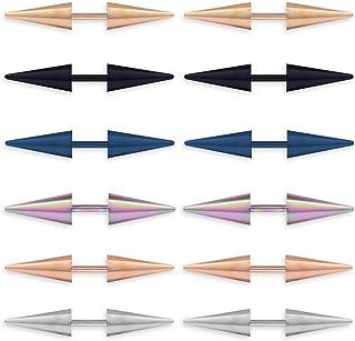 6 أزواج فريدة من نوعها الشرير التيتانيوم الفولاذ المقاوم للصدأ أقراط صغيرة كلاسيكية بسيطة مثلثة لا تسبب الحساسية للنساء وا...