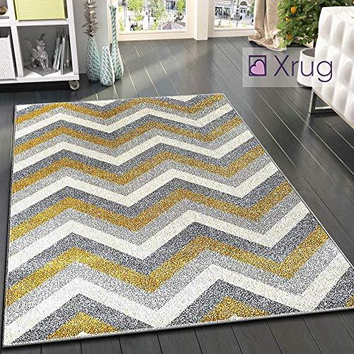 Grau-gelber Teppich Senf Modern Chevron Zick Zack 70 x 140 cm – 2 Fuß 4 Fuß 7 Zoll Gewebt Kurzflor Teppich Matte für Wohnzimmer & Schlafzimmer