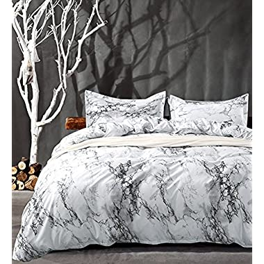 King Bedding Duvet Cover Set White Black Marble, 3 piece - 1000 -TC Luxury Hypoallergenic Microfiber Down Comforter Quilt Covers with Zipper Closure, Ties - Best Organic Modern Style for Men and Women