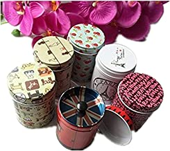 GracesDawn Set of 6 Home Kitchen Storage Containers Colorful Tins Round Tea Tins,Cylinder Double Cover