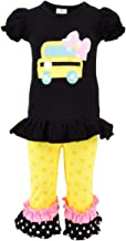 Unique Baby Girls Back to School Bus Shirt Boutique Outfit