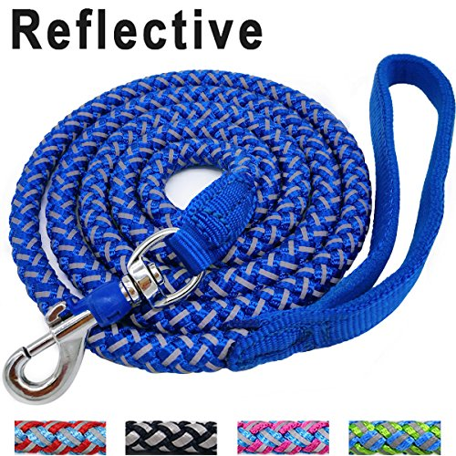 Mycicy 6 ft Reflective Blue Dog Leash, Best Nylon Braided Rope Dog Leash Strong Heavy Duty Dog Leash for Small Medium Large Dogs Walking Leash(Blue 6ft)