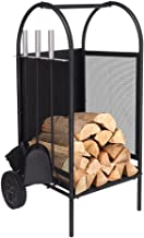 Fireplace Log Holder Rack with 2 Wheels Fireplace Wood Mover Brush Shovel Poker Firepit Firewood Rack Carrier Cut Wood Lumber Stove Storage Stacking Log Bin Stand for Indoor Outdoor,31.5 x 14 x 14in