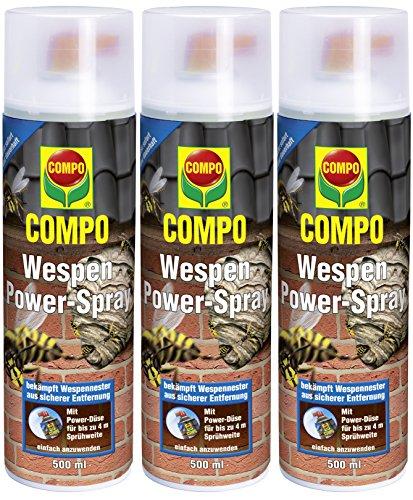 Compo Wespen Power-Spray, Inkl. Power-Düse, Sofort- und Langzeitwirkung, 3 x 500 ml