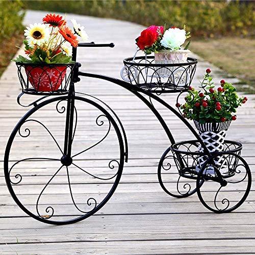 Z&H Eisen Fahrrad Blumenständer Metallkorb Blumen Racks Fahrradliebhaber Metall Gartendekoration Balkon Zimmerpflanze Stand,Schwarz