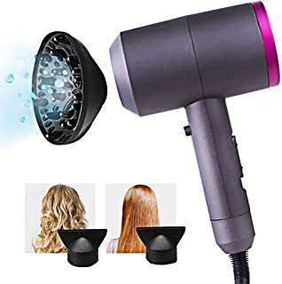 Ionic Hair Dryer with Diffuser, Constant Temperature Not Hurting Hair Ionic Hammer Hair Dryer 1600W Negative Ionic Hairdryers Hair Care Hair Dryers