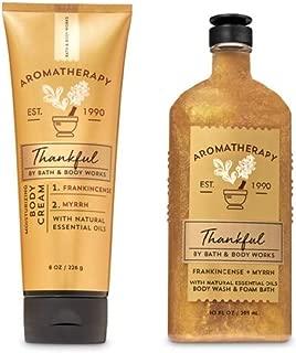 Aromatherapy - Thankful - Frankincense Myrrh - Duo - Body Cream and Body Wash & Foam Bath - Full Size (2019 Edition)