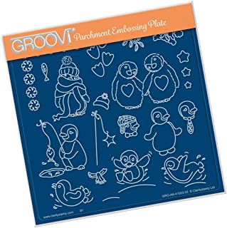 Groovi Parchment Embossing Plate - Linda Williams Penguins Plate - Laser Etched Acrylic for Parchment Craft