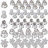 60pcs Horquilla Espiral de Perla Rhinestone Espirales Pelo Pinzas Cabello Flores Plata Blanca Accesorios Pelo Boda Novia Mujer Nupcial Comunión (5 Estilos Mezclados)