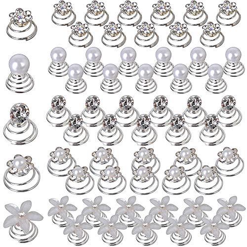 60pz Fermagli Spirali per Capelli Accessori Capelli Sposa Forcine Cristallo Strass Clip Matrimonio Acconciatura Comunione in 5 stile