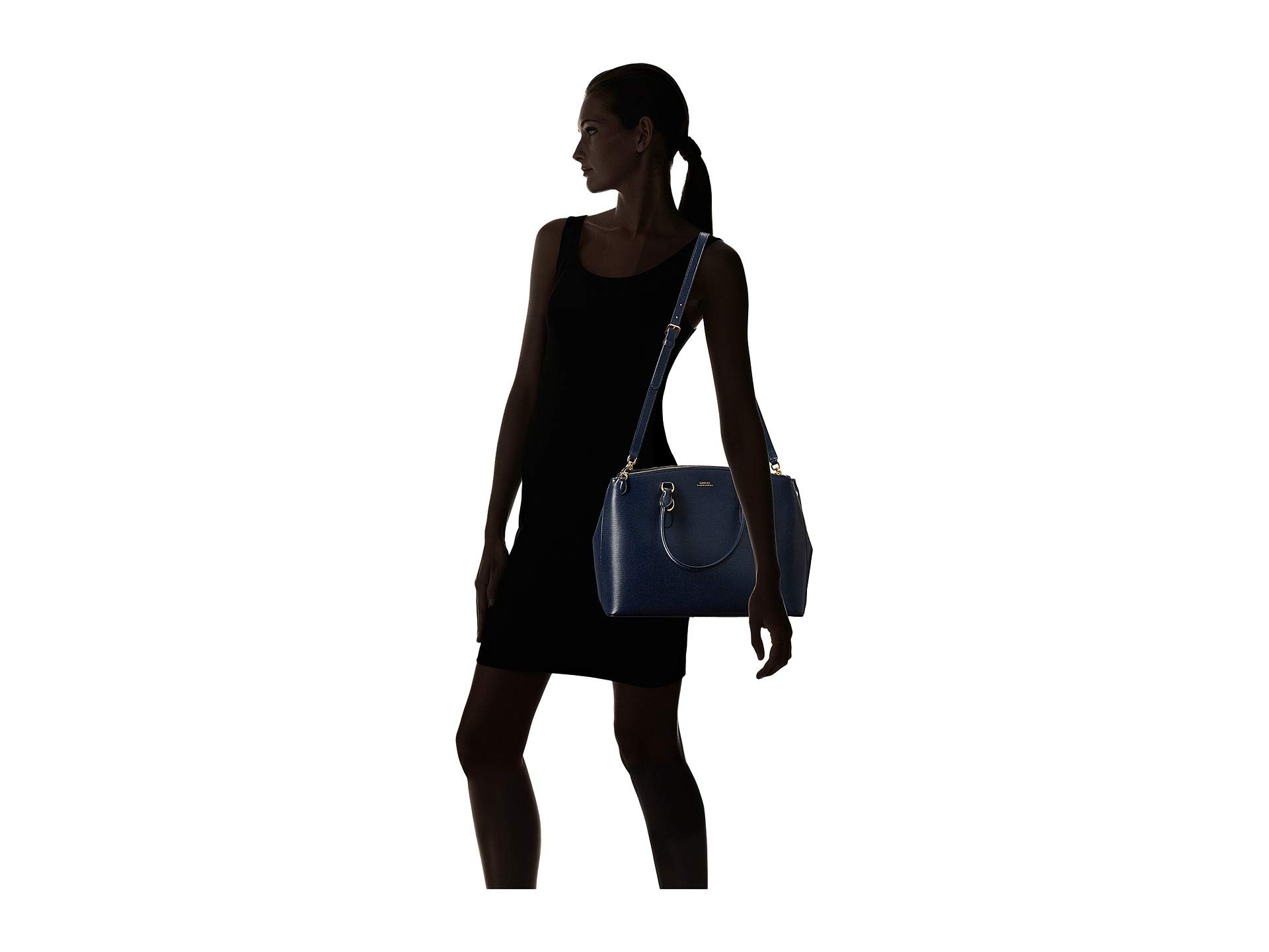 Bennington Zip Satchel Navy Double Lauren Ralph nRwgZxqC