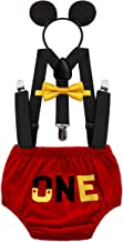 MYRISAM Mickey First Birthday Outfit Cake Smash Photo Prop Bow Tie Suspender Bloomers Headband Baby Shower Costume