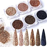 Rose Gold Nail Glitter Holographic Powder,Nail Glitter Kits,Laser Shining Flakes Sparkling Glitters Nails DIY Women Club Night Out Dresses Glitters Sticker Face Eye Body Hair Nail Art Decor (Queen)