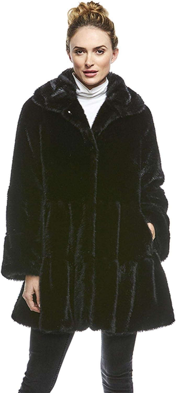 Black Mink Faux Fur Knee-Length Swing Coat (S) (Black)