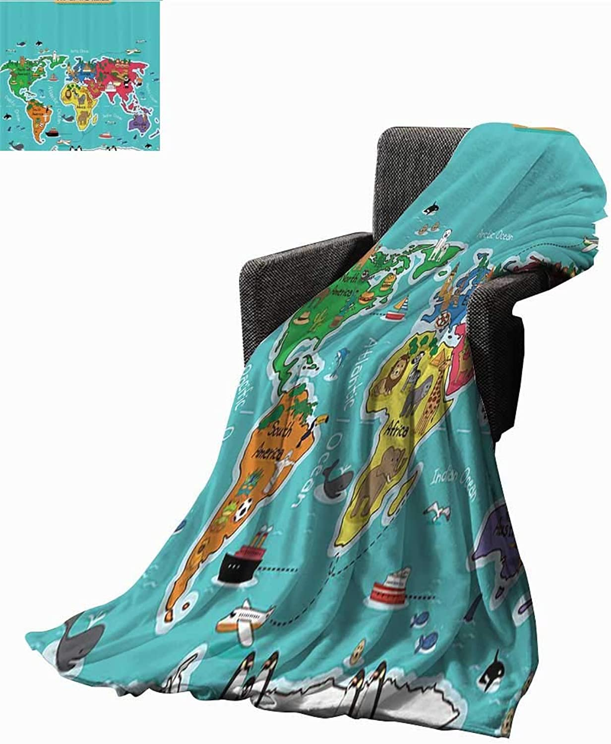 colorful Educational Kids Maps Decor Collection The Original Vellux Blanket America Africa Asia Australia Pacific Indian Atlantic Ocean Image Home, Couch, Outdoor, Travel Use 54  Wx72 L Yellow bluee