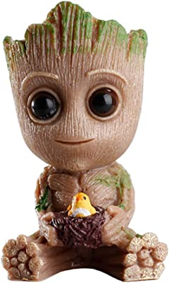 Baby Groot Planter Pot,Cute Bird-Nest Model Succulent Green Plants Flower Pot,Pen Holder with Hole,Perfect Gift for Kids, Friends