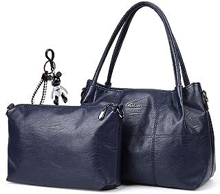 AINUOEY Damen Henkeltaschen Damenhandtaschen Frau Handtaschen Schultertaschen Klein PU-Leder Tote Blau