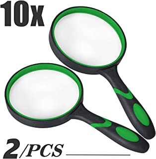 Magnifying Glass 10x, Reading Magnifier with 75mm Lens, Thickened Rubbery Glass Frame with Non-Slip Handheld Soft Handle Design for Seniors/Kids Newspapers Books Maps Reading/Science Discovery Hobby