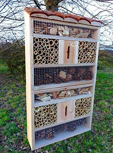 BTV insektenhotel MIT STÄNDER, mit Holzrinde-Naturdach, FDV-Host-MS XXL viele Farben Insektenkasten farbige Nistkästen Holz Insekten