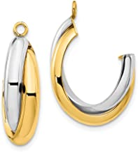 14k Two Tone Yellow Gold Double J Hoop Earrings Ear Hoops Set Jacket Jackets Studs Fine Mothers Day Jewelry For Women Gifts For Her