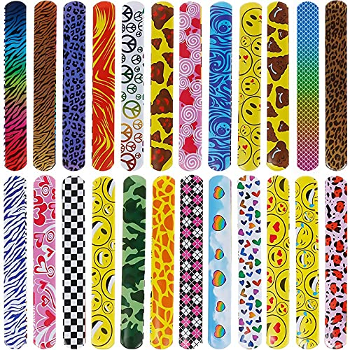GOLDGE 24 Pezzi Braccialetti Slap, Schiaffo Bracciali per Bambini Compleanno Festa Bomboniere Slap Bracelets Giocattolo per Ragazze e Ragazzi
