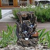 GEEZY Garden Water Feature LED Fountain Indoor/Outdoor Cascading Freestanding Polyresin Garden Statue Lights & Water Decoration (Tree Log Fountain)
