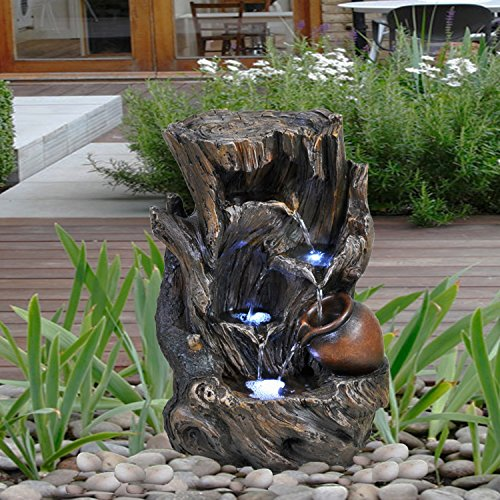 GEEZY Garden Water Feature LED Fountain Indoor/Outdoor Cascading...