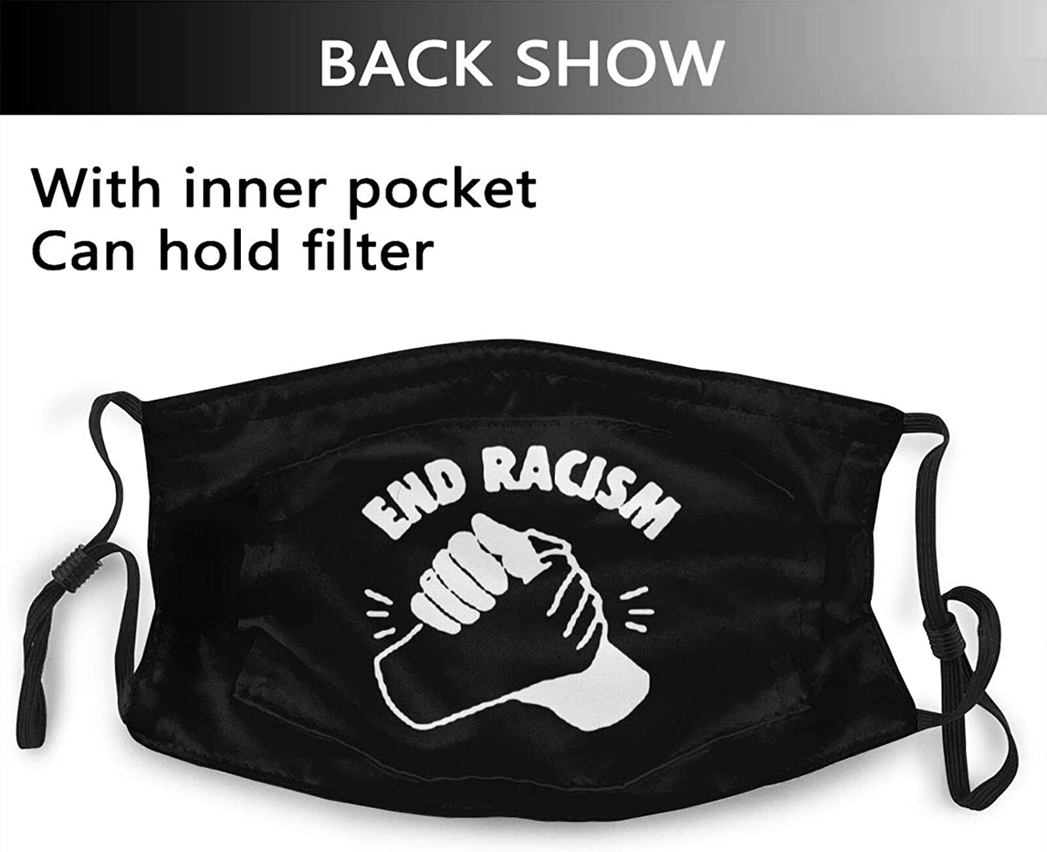 End Racism Black Face Mask Bandanas Reusable Dustproof Abjustable Sport Mask with Filters Washable Balaclava for Adults